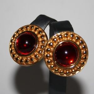 Vintage gold and red earrings